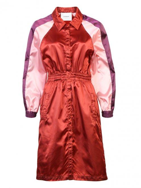 Платье-миди с контрастной отделкой - Общий вид