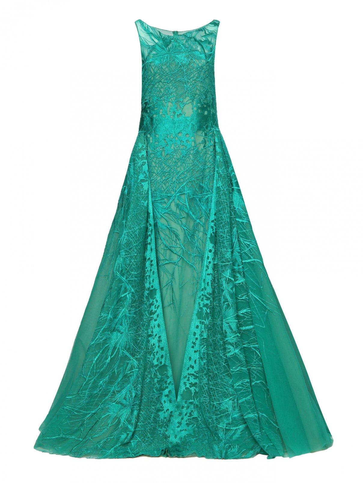Платье-макси из шелка и сетки с вышивкой Tony Ward  –  Общий вид  – Цвет:  Зеленый