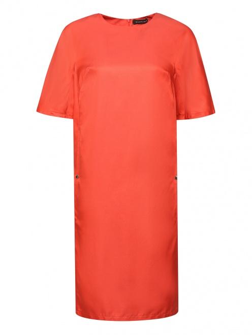 Платье из хлопка и шелка с боковыми карманами - Общий вид
