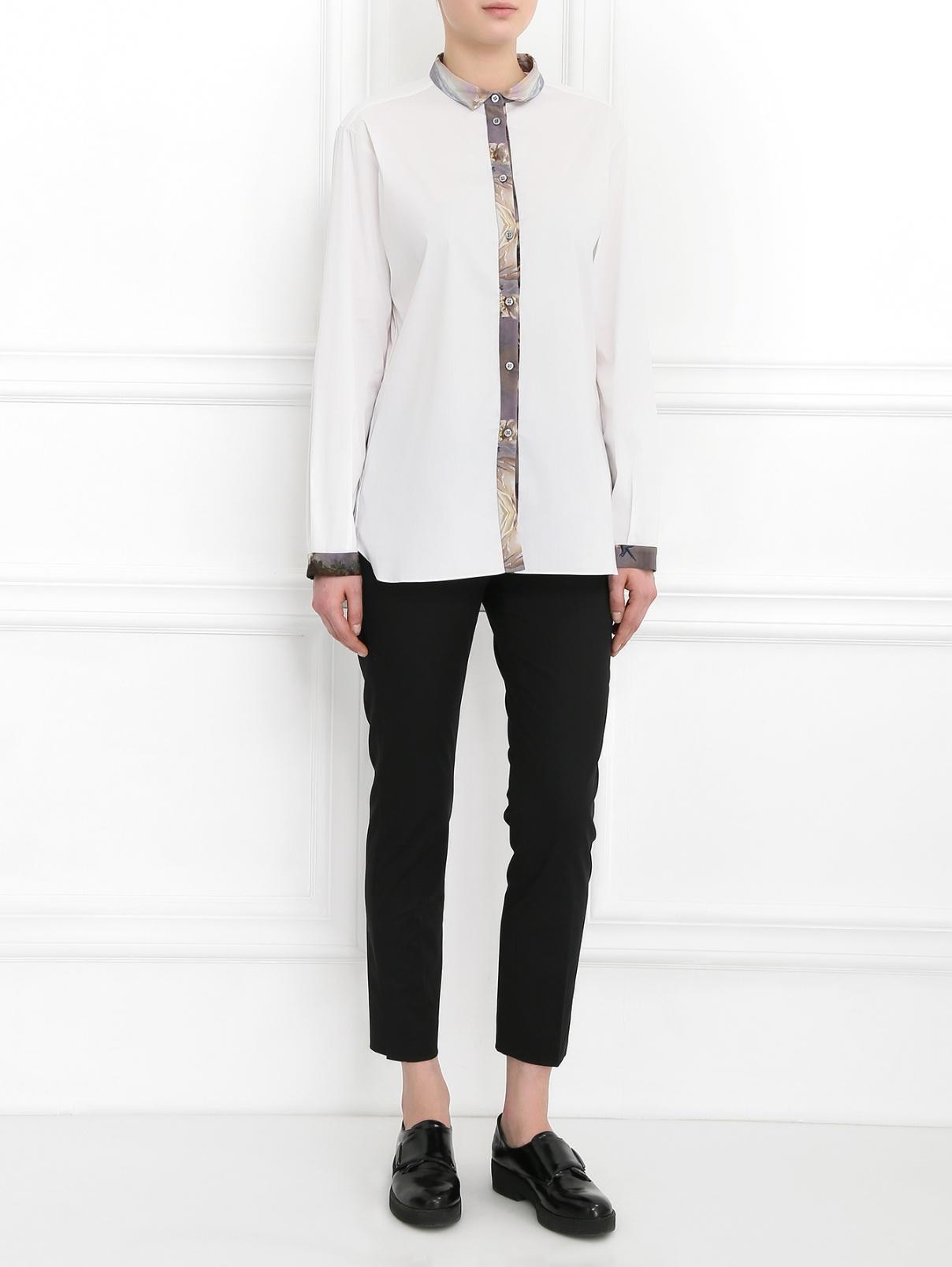Рубашка из хлопка с контрастной вставкой Giles  –  Модель Общий вид  – Цвет:  Белый