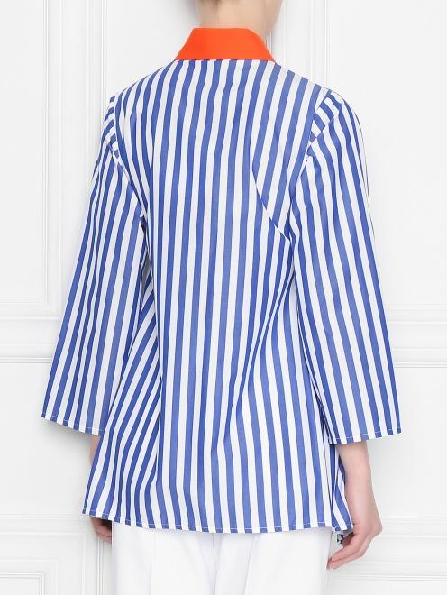 Блуза из хлопка в полоску с контрастным воротником - МодельВерхНиз1