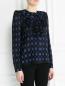 Блуза из смешанного шелка с жабо и узором Sonia Rykiel  –  Модель Верх-Низ