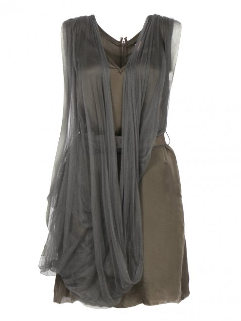 Платье из шелка с поясом и драпировкой  - Общий вид