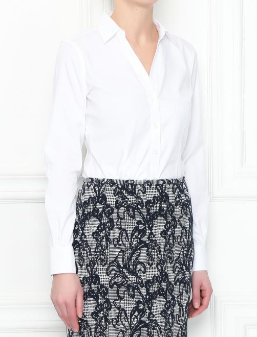 Рубашка из хлопка приталенного кроя - МодельВерхНиз