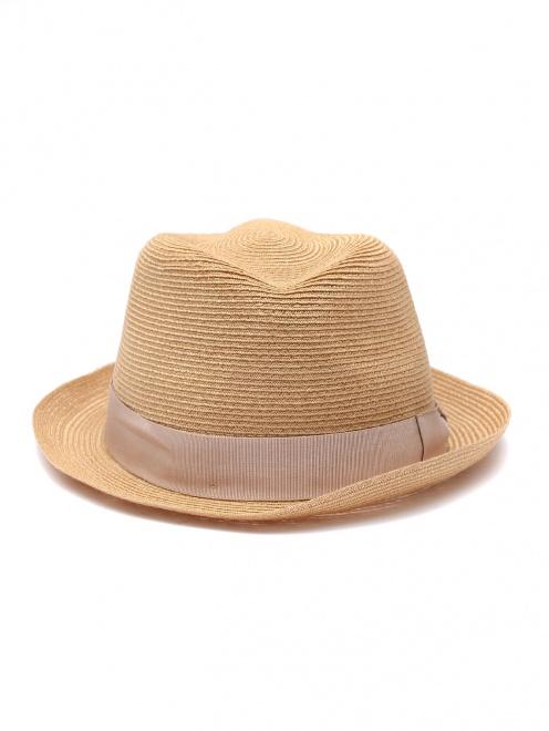 Плетеная шляпа с лентой в тон  - Общий вид