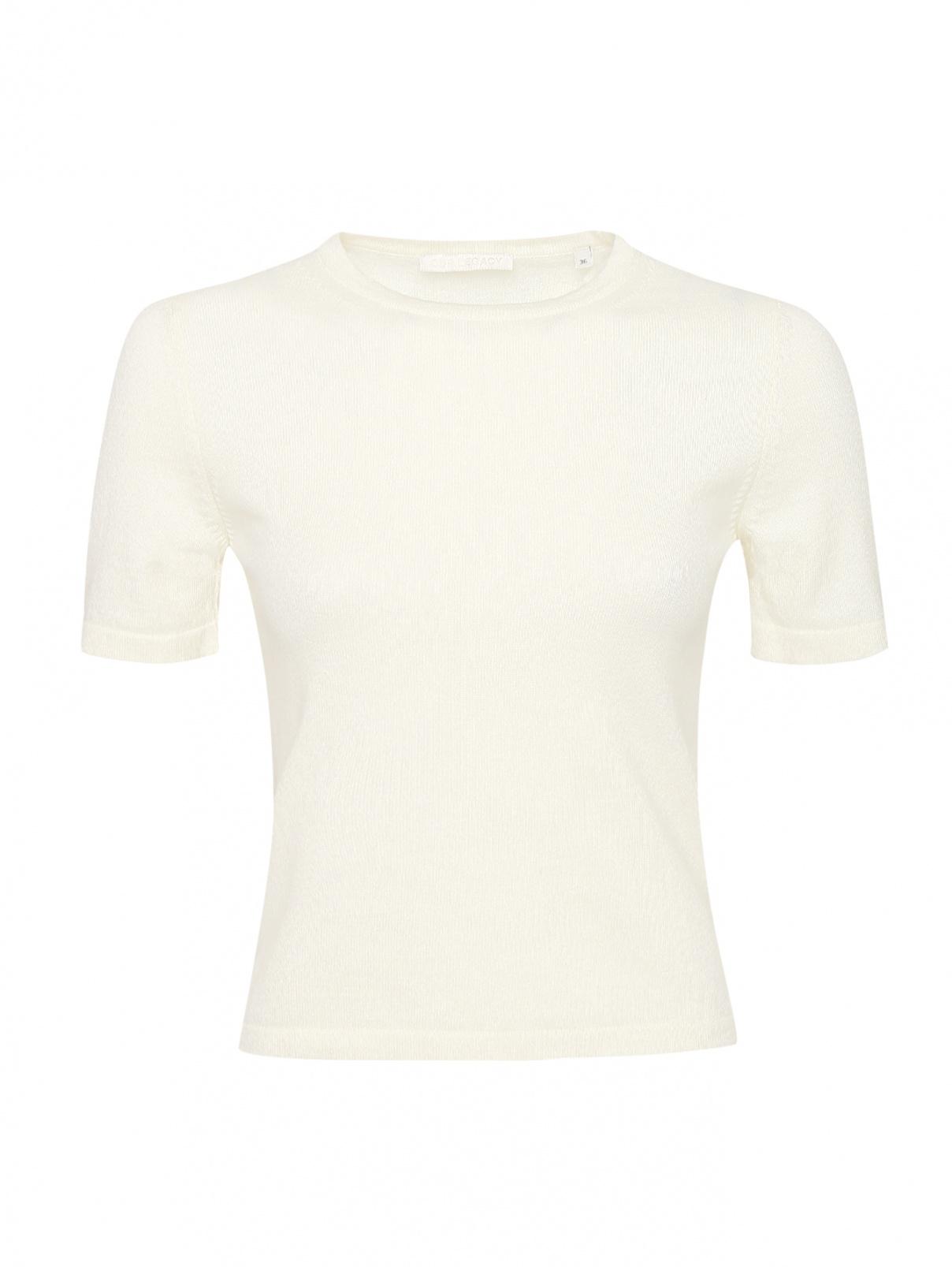 Однотонная укороченная футболка Our Legacy  –  Общий вид  – Цвет:  Белый