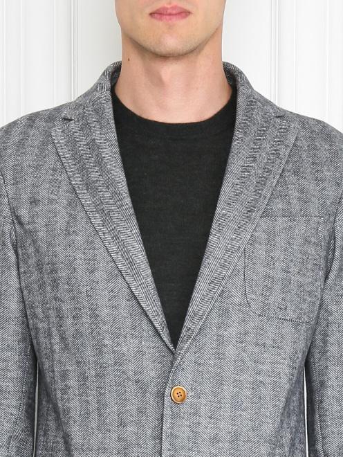 Пиджак однобортный из хлопка и шерсти  - МодельОбщийВид1