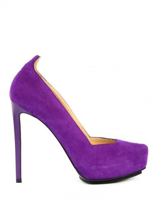 Туфли из замши на высоком каблуке и платформе - Общий вид