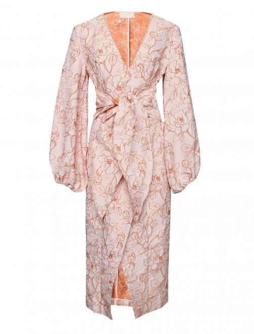 Платье-миди с цветочным узором - Общий вид