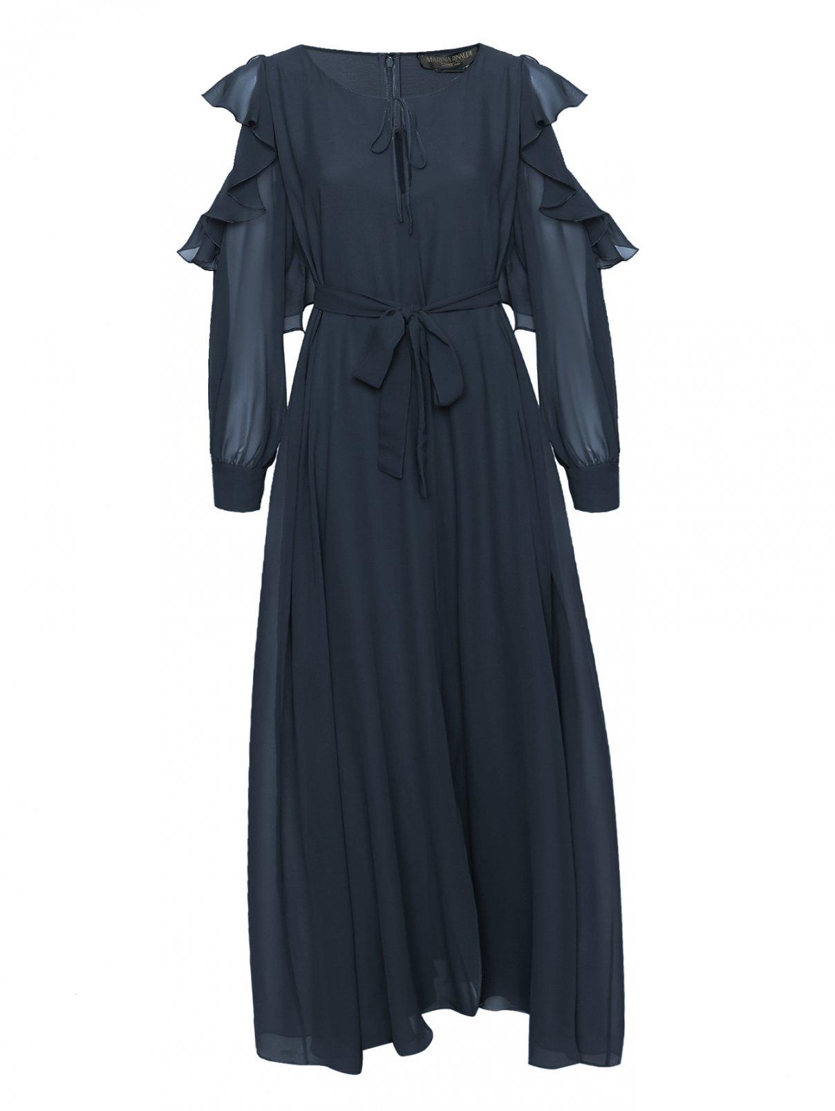 Платье-макси из шелка с поясом Marina Rinaldi  –  Общий вид