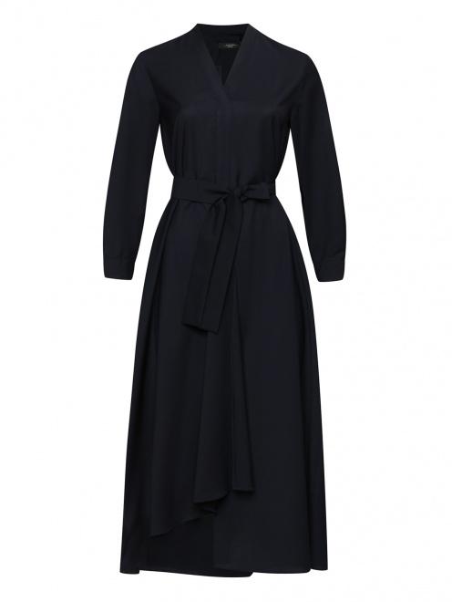 Платье-миди из шерсти с поясом  - Общий вид