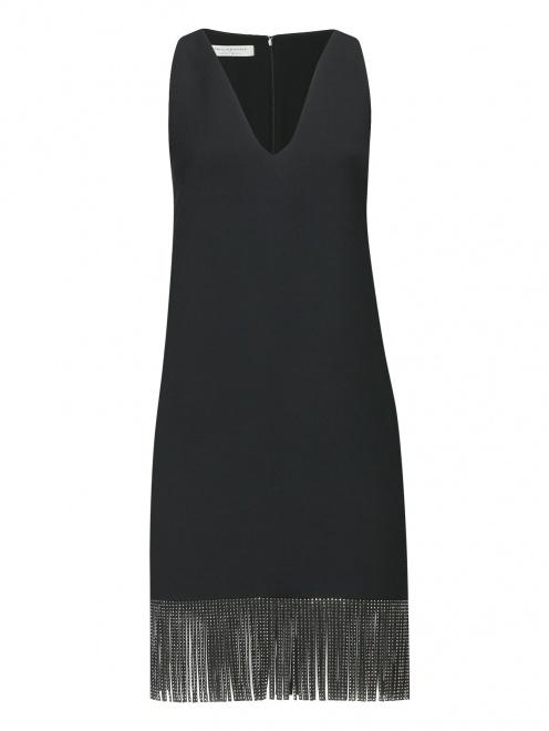 Платье из смешанной шерсти с бахромой - Общий вид
