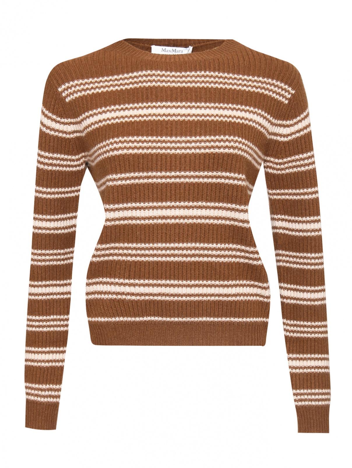 Джемпер из шерсти и кашемира в полоску Max Mara  –  Общий вид  – Цвет:  Коричневый