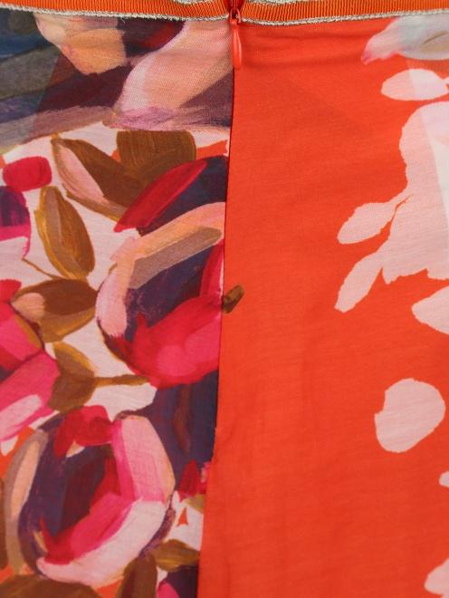 Юбка из хлопка и шелка с цветочным узором - Деталь1