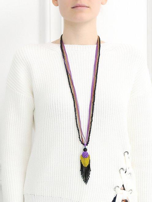 Ожерелье из хлопка и бисера - Модель Верх-Низ