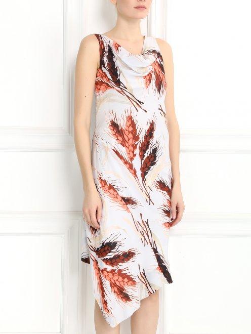 Платье-миди без рукавов с узором - Модель Верх-Низ