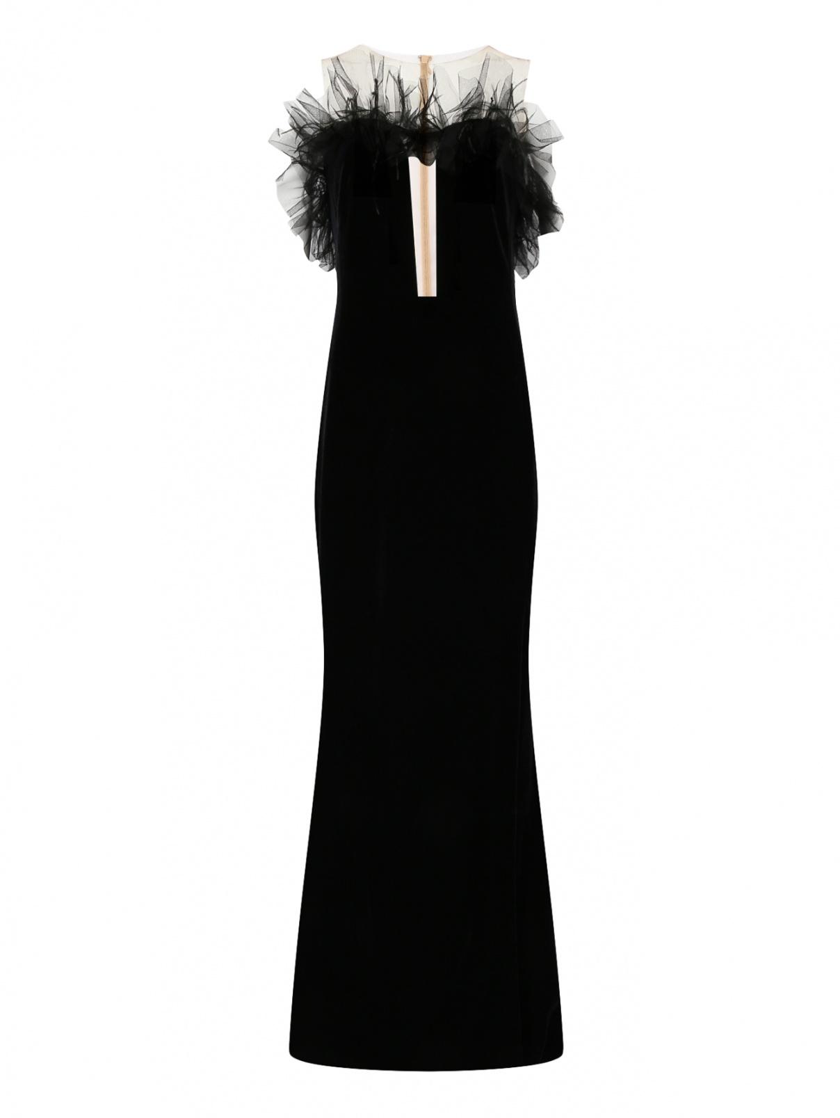 Бархатное платье-макси без рукавов Yanina  –  Общий вид  – Цвет:  Черный