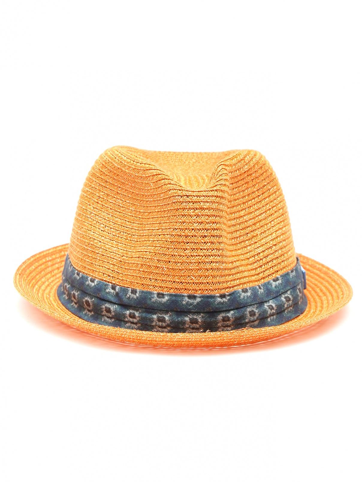 Шляпа из соломы с контрастной отделкой Stetson  –  Общий вид  – Цвет:  Оранжевый