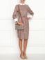 Платье-миди из хлопка с узором и контрастной отделкой Brooks Brothers  –  МодельОбщийВид