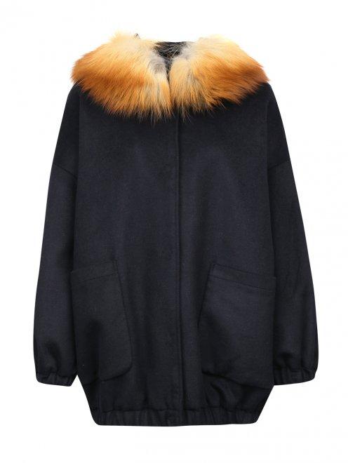 Полупальто из шерсти с отделкой мехом лисы - Общий вид