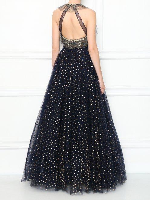 Платье-макси из сетки декорированное кристаллами - МодельВерхНиз1