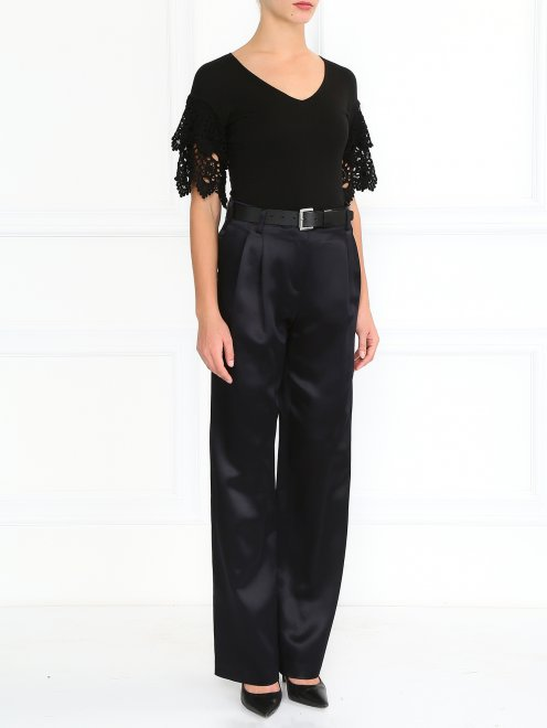 Шелковые брюки прямого фасона - Модель Общий вид