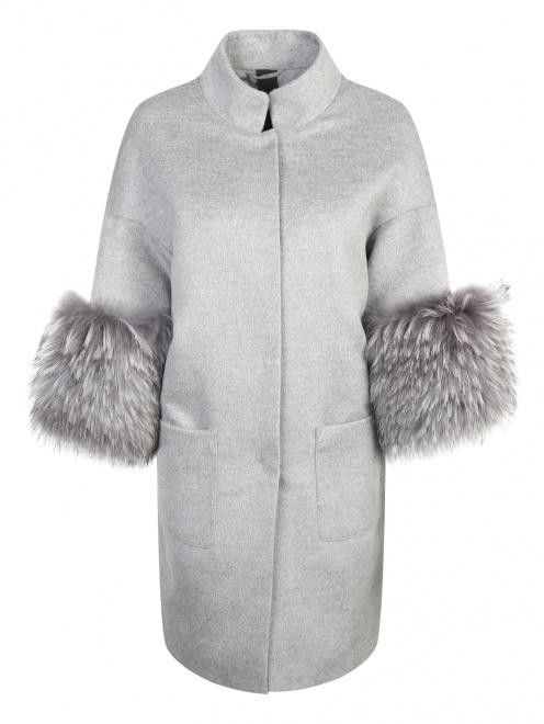 Пальто из шерсти с отделкой из меха с накладными карманами - Общий вид