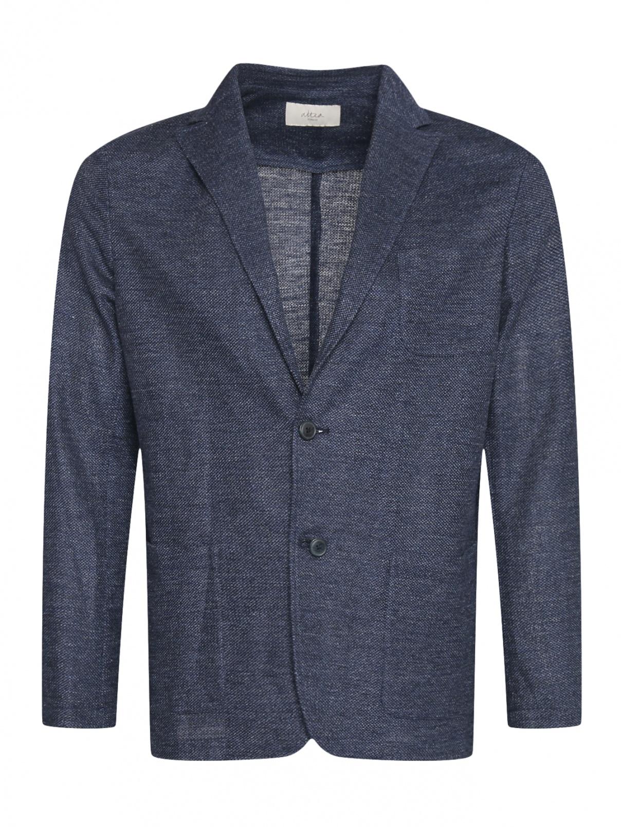 Облегченный пиджак из льна и хлопка Altea  –  Общий вид  – Цвет:  Синий