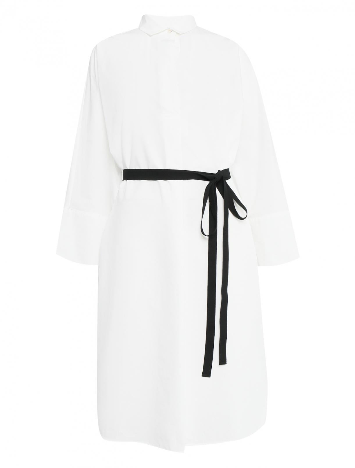 Платье-рубашка из хлопка с контрастным поясом Weekend Max Mara  –  Общий вид