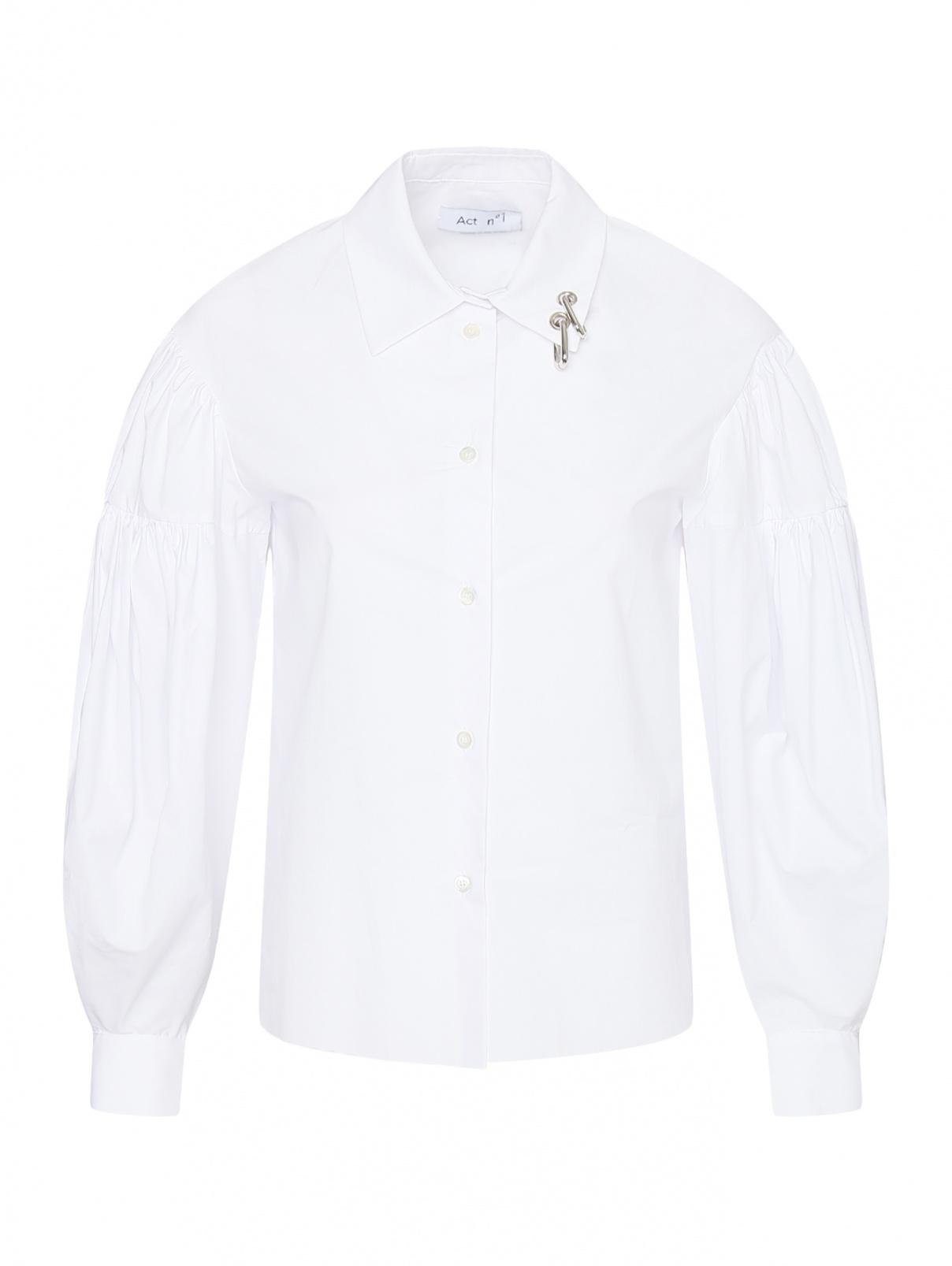 Рубашка из хлопка с объемными рукавами и металлическими аппликациями Act №1  –  Общий вид  – Цвет:  Белый