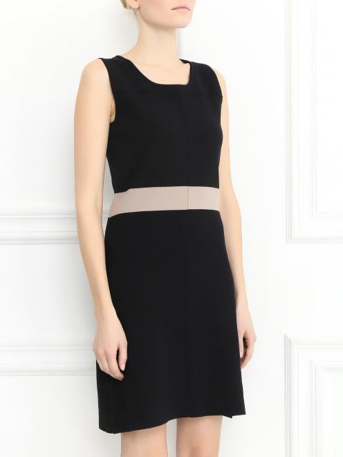Платье-мини из трикотажа с контрастной вставкой  - Модель Верх-Низ