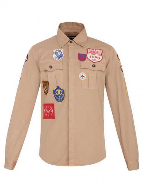 Рубашка хлопковая с патчами - Общий вид