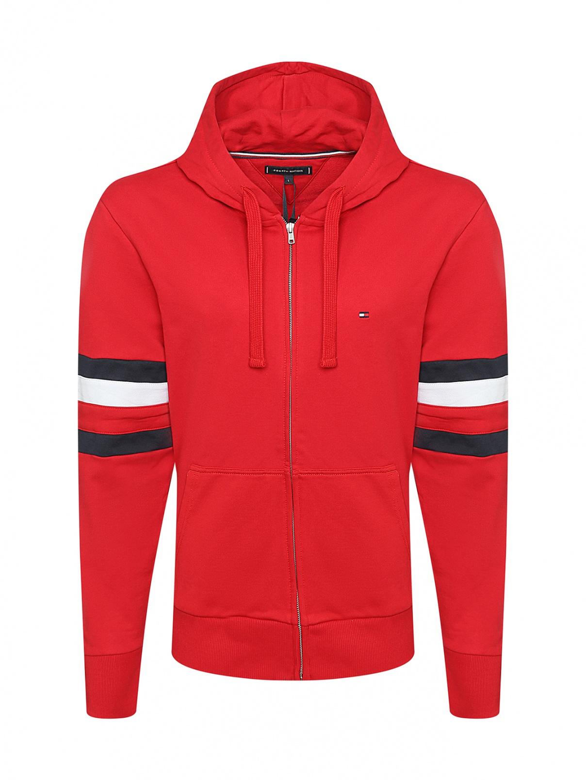 Толстовка на молнии с капюшоном Tommy Hilfiger  –  Общий вид  – Цвет:  Красный