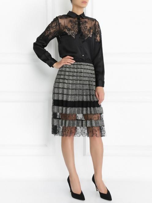 Блуза из шелка с кружевной отделкой - Модель Общий вид