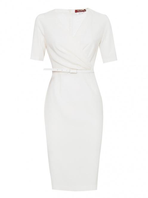 Платье из шерсти с ремнем  - Общий вид