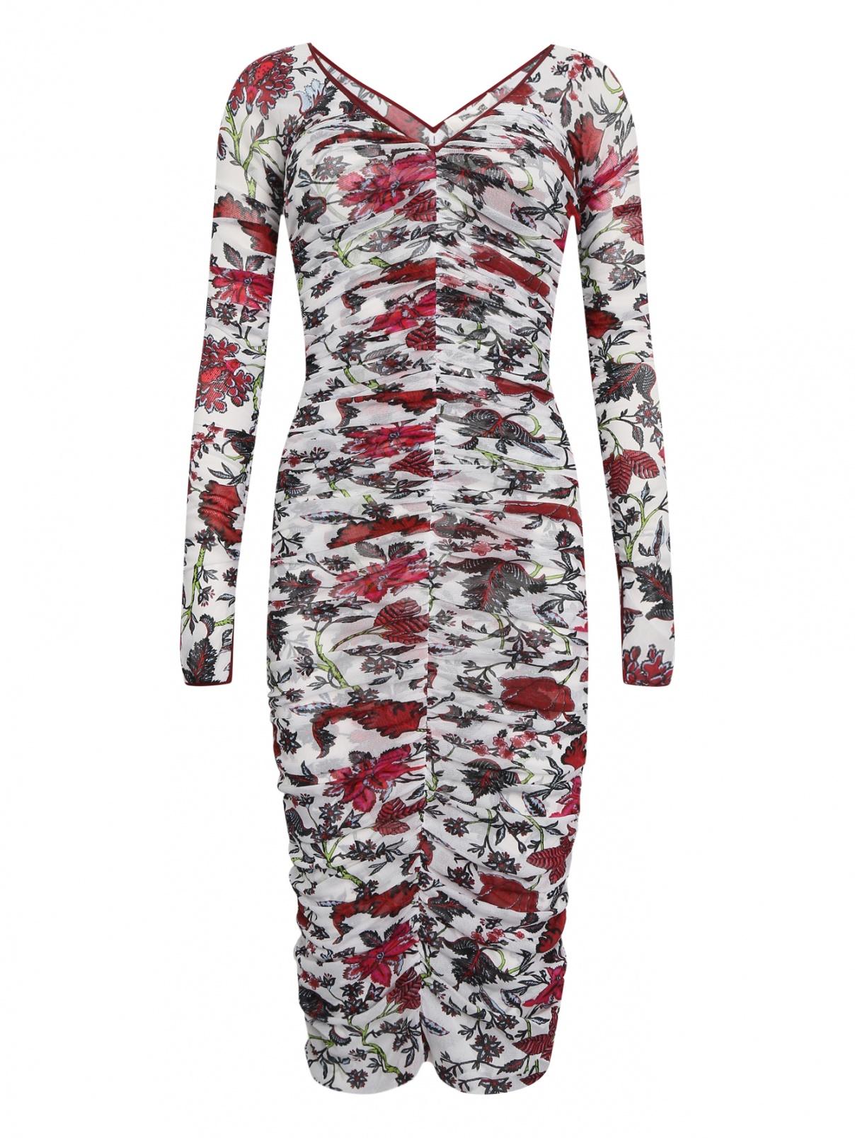 Платье с драпировками Diane von Furstenberg  –  Общий вид  – Цвет:  Белый