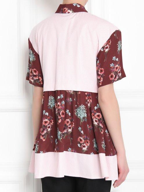 Блуза из хлопка и вискозы с контрастными вставками - МодельВерхНиз1