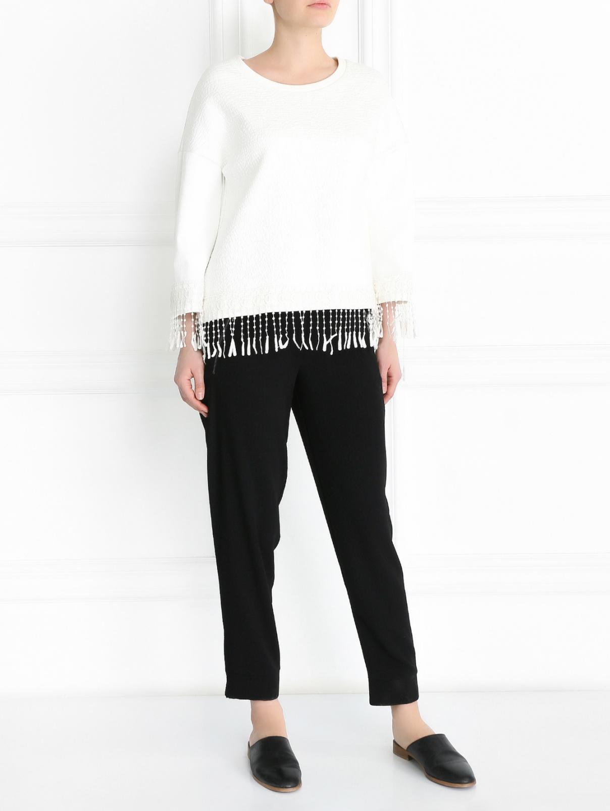 Свитшот свободного кроя с кружевной отделкой Rich & Royal  –  Модель Общий вид  – Цвет:  Белый