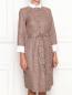 Платье-миди из хлопка с узором и контрастной отделкой Brooks Brothers  –  МодельВерхНиз