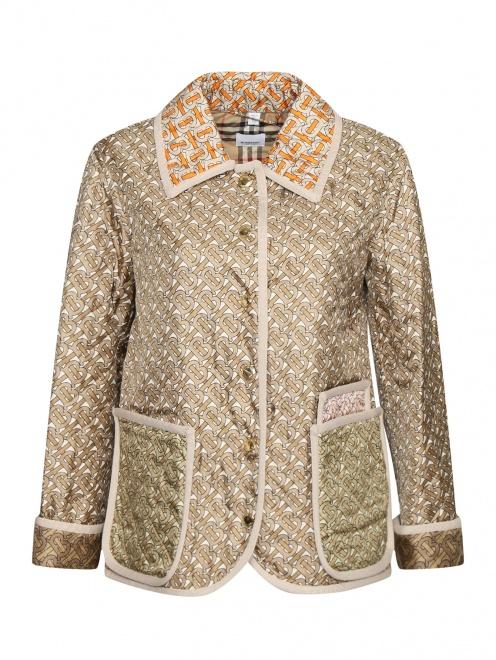 Стеганная куртка из шелка с накладными карманами и принтом  - Общий вид