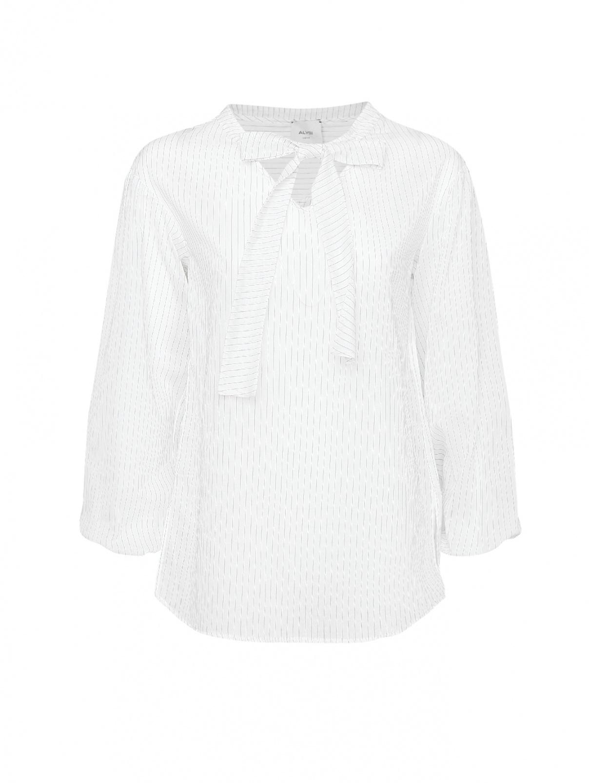 Блуза из хлопка и шелка в полоску Alysi  –  Общий вид  – Цвет:  Белый