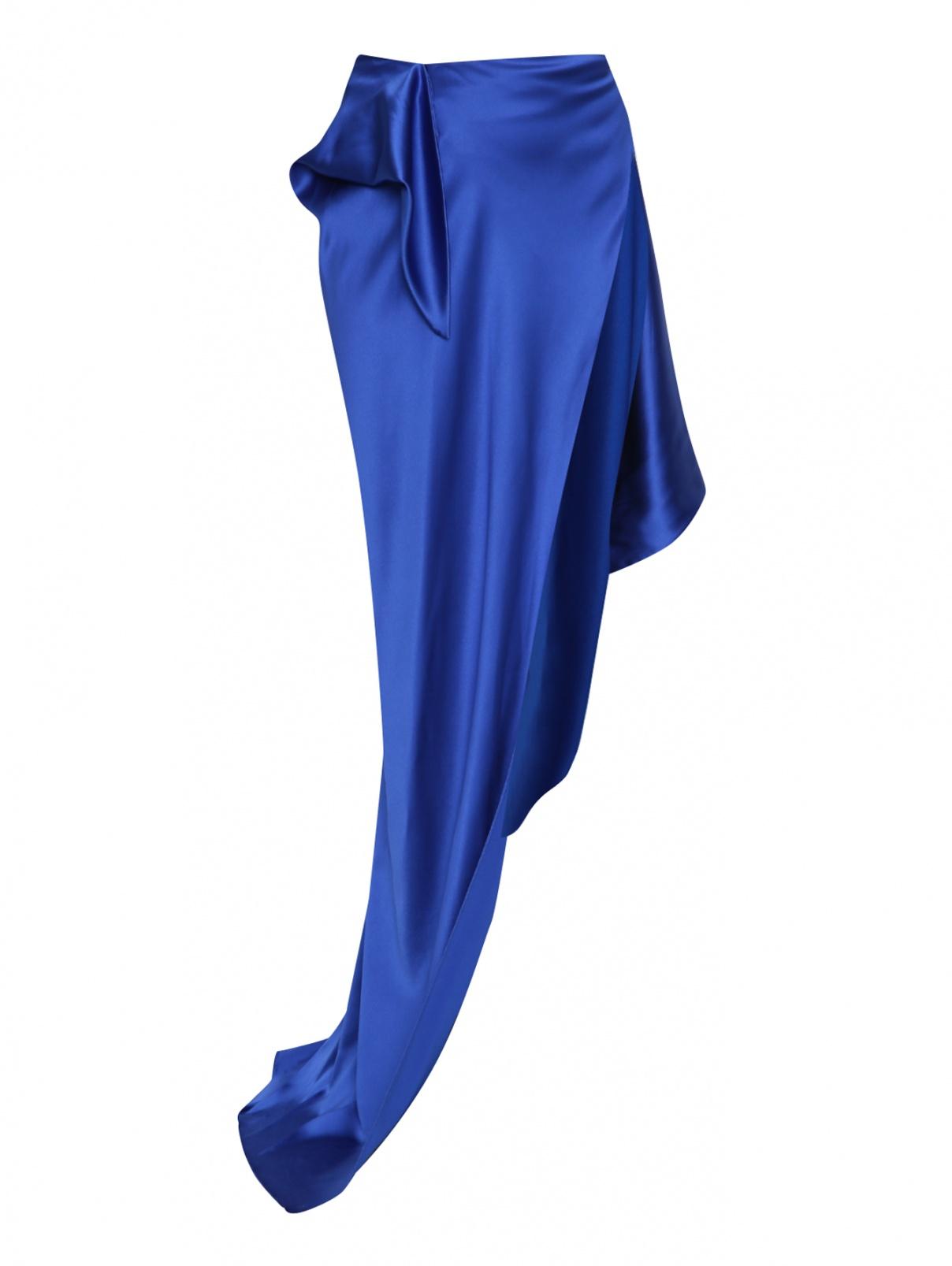 Ассиметричная юбка Balenciaga  –  Общий вид  – Цвет:  Синий