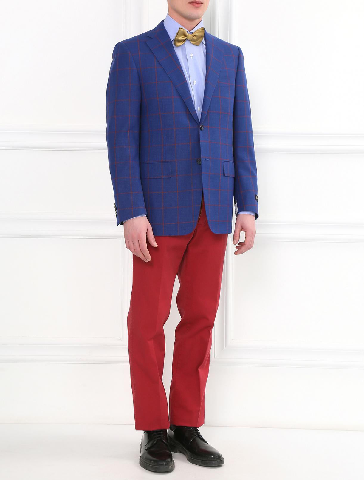 Прямые брюки из хлопка PT01  –  Модель Общий вид  – Цвет:  Красный