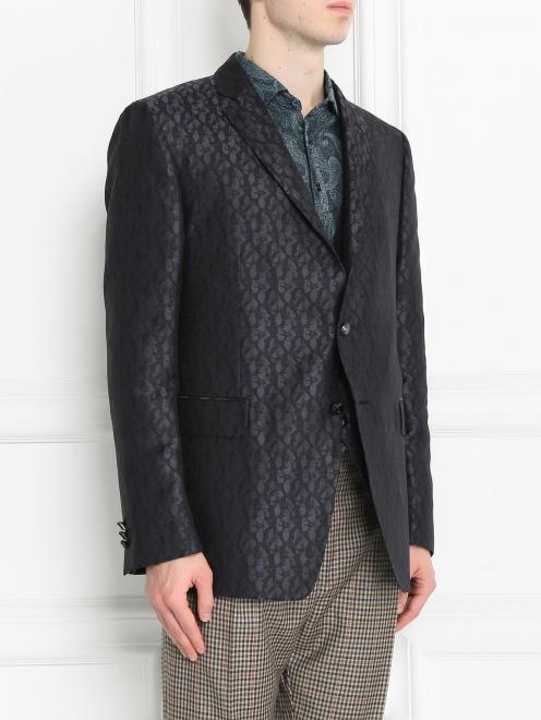 Пиджак однобортный из шелка с узором - МодельВерхНиз