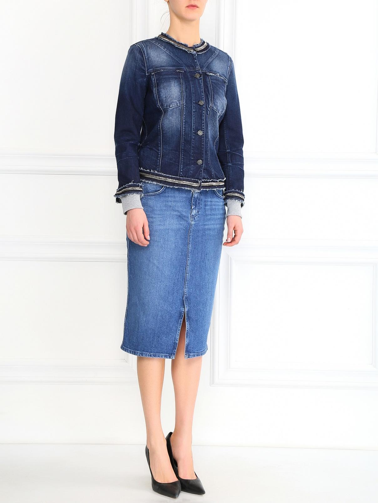 Джинсовая куртка декорированная стеклярусом 7 For All Mankind  –  Модель Общий вид  – Цвет:  Синий