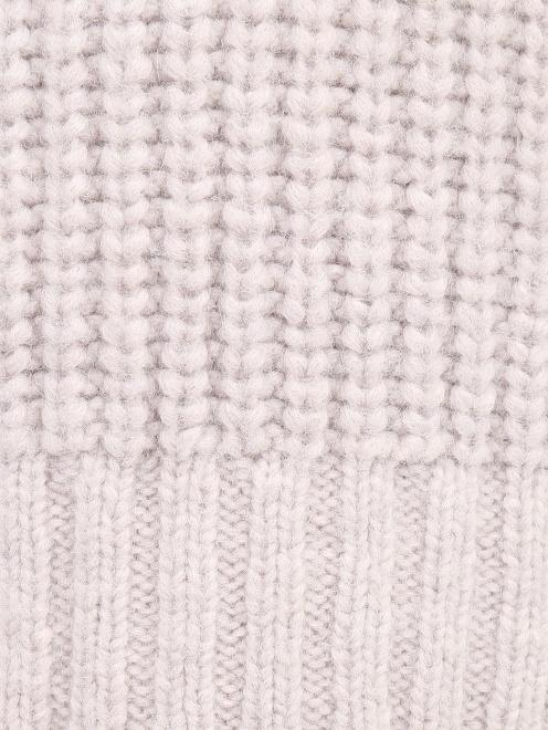 Удлиненный свитер из смесовой шерсти фактурной вязки - Деталь