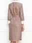 Платье-миди из хлопка с узором и контрастной отделкой Brooks Brothers  –  МодельВерхНиз1