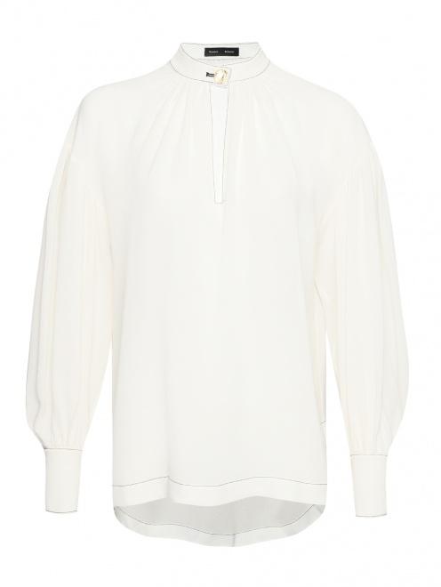 Блуза из шелка с контрастной отстрочкой  - Общий вид