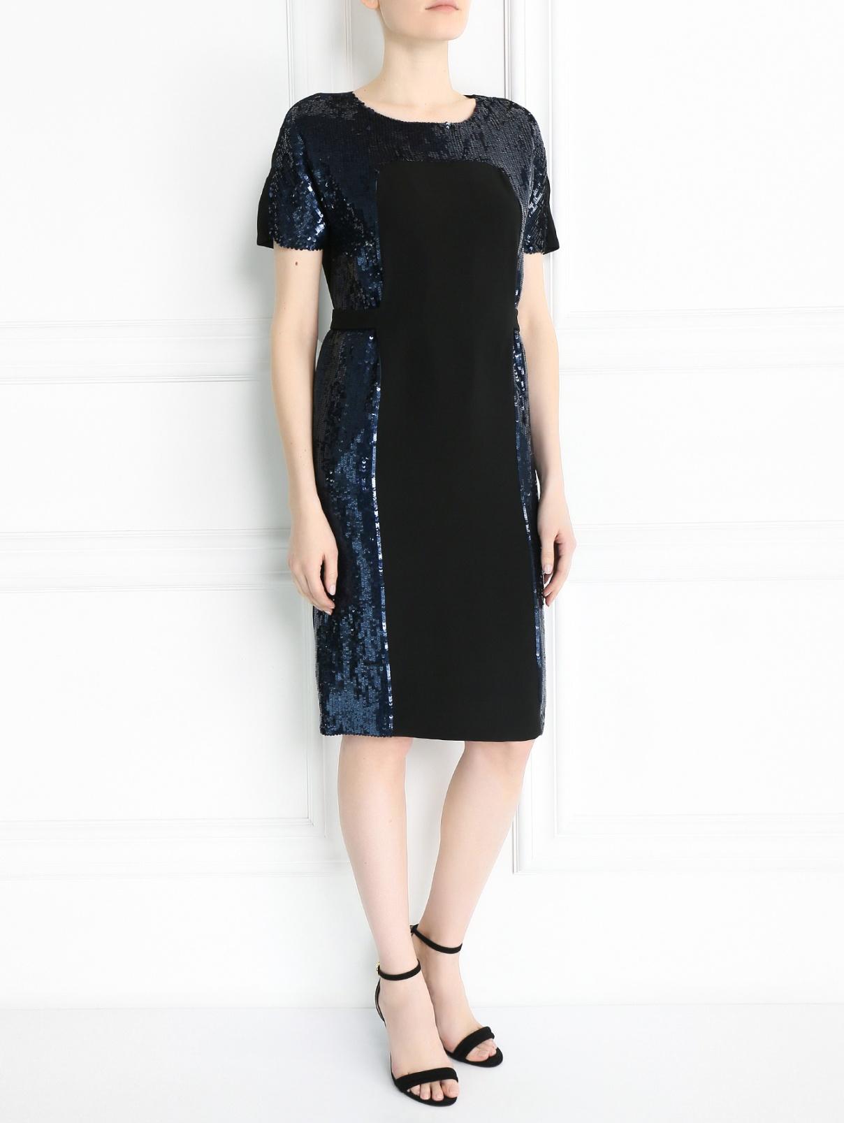Платье-миди из шелка декорированное пайетками Yves Salomon  –  Модель Общий вид