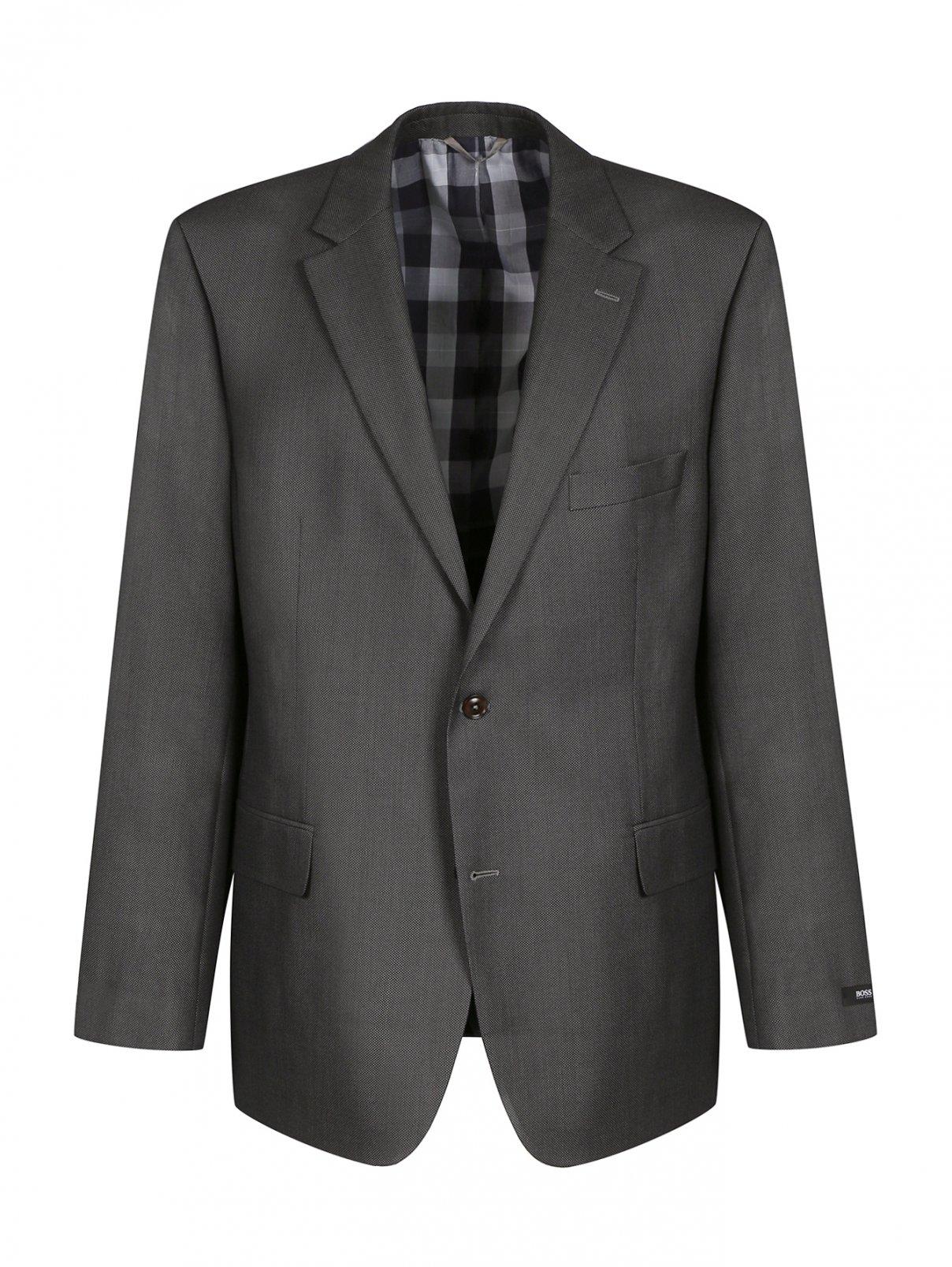 Пиджак однобортный из шерсти Boss  –  Общий вид  – Цвет:  Серый